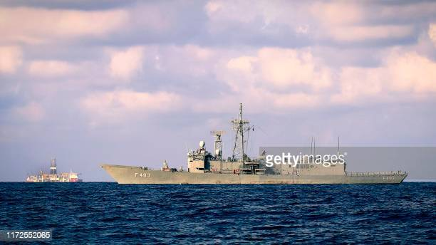 Picture taken on September 25, 2019 in the Mediterranean Sea, off the coast of Cyprus approximately 20 nautical miles north-west of Paphos, shows a...