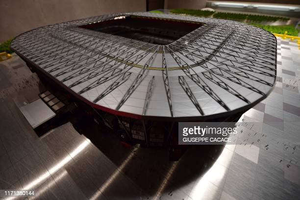 Picture taken on September 25, 2019 shows a plastic model of the Ras Abu Aboud Stadium, one of the venues for the FIFA World Cup Qatar 2022, in the...