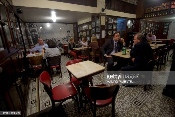 Picture taken on September 26, 2013 at Casa Villarino, the traditional bar in which the legendary late poet Vinicius de Moraes and late musician Tom...