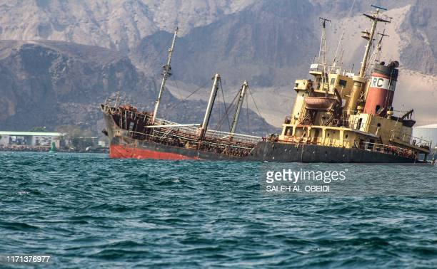 Picture taken on September 26, 2019 shows a view of the Yemeni flagged oil tanker Rudeef GNA, sinking in the waters off Yemen's second city and port...