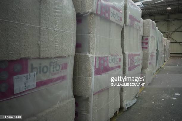 A picture taken on September 26 2019 shows part of the hemp insulation products inside the Cavac's plant in SaintGemmelaPlaine near Niort Western...