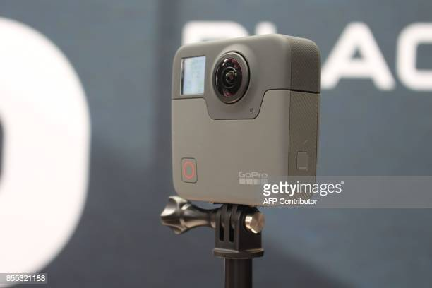 A picture taken on September 28 2017 shows a Fusion minicamera camera capable of capturing all the action around it at a GoPro media event in San...