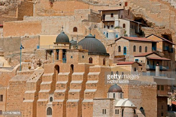 A picture taken on September 28 2019 shows the Greek Orthodox monastery of St Sabbas also known as Mar Saba overlooking the Kidron Valley in the West...