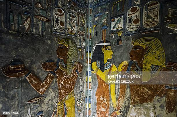A picture taken on September 29 2015 shows a relief on the wall inside Horemheb tomb at the Valley of the Kings close to Luxor 500 kms south of Cairo...