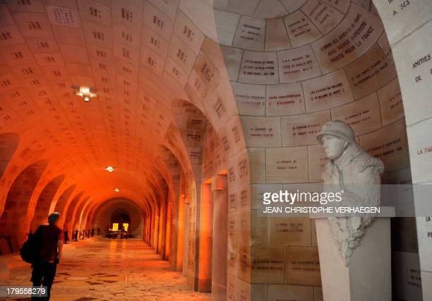A picture taken on September 3 2013 shows a torso of a World War I soldier in the cloister of the ossuary of Douaumont in Douaumont eastern France...