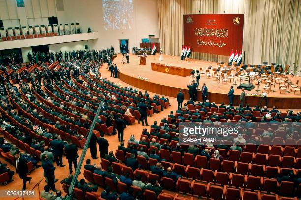A picture taken on September 3 2018 shows a general view of the Iraqi parliament during a meeting in the capital Baghdad Iraq's parliament convened...