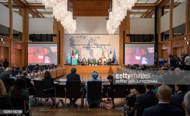 A picture taken on September 3 2018 shows a general view of the conference room during a highlevel conference on the Lake Chad region at the Foreign...