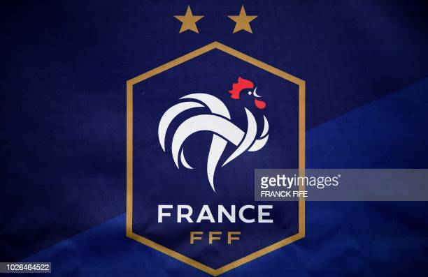 Picture taken on September 3, 2018 shows the logo with two stars of France national football team during a press conference in...