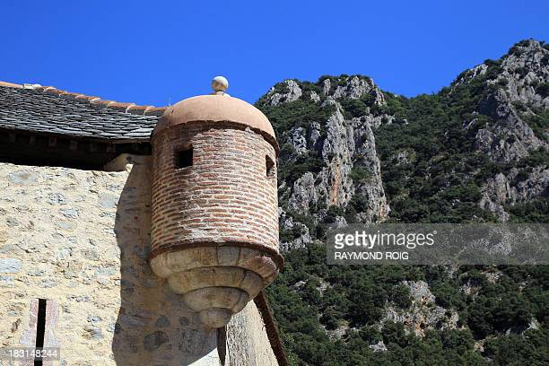 Picture taken on September 3 shows a watchtower of the Villefranche-de-Conflent's walls, in the French Pyrenees. The 11th century medieval town,...