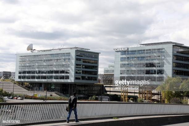 A picture taken on September 4 2017 in BoulogneBillancourt a neighbouring suburb of Paris shows a view of the headquarters of Canal Plus Group pay TV...