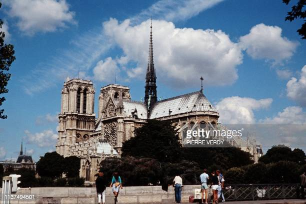 Picture taken on September 5, 1986 in Paris shows the Notre-Dame cathedral. - A huge fire swept through the roof of the famed Notre-Dame Cathedral in...