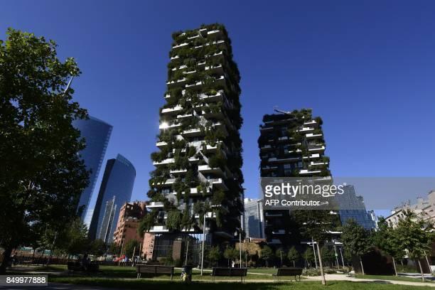 CORNU A picture taken on September 5 2017 shows the architectural complex designed by Studio Boeri the Bosco Verticale in the Porta Nuova area in...