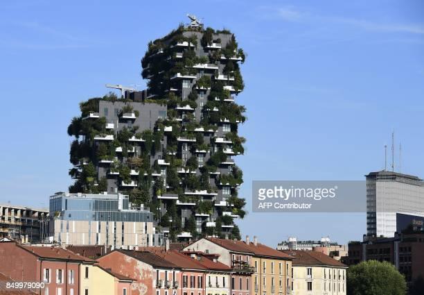 CORNU A picture taken on September 5 2017 shows the architectural complex designed and worn by Studio Boeri the Bosco Verticale in the Porta Nuova...