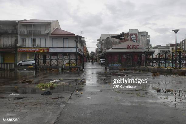 A picture taken on September 6 2017 shows the empty market square in PointeaPitre on the French overseas island of Guadeloupe after high winds from...