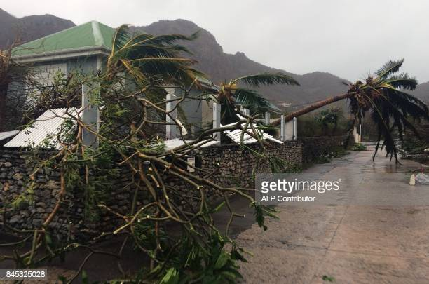 Picture taken on September 6 shows damage in Grand Fond on the French Caribbean island of Saint-Barthelemy, after it was hit by Hurricane Irma. At...