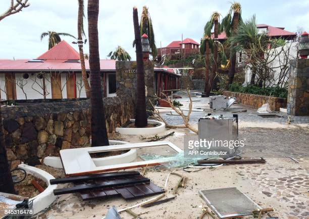 Picture taken on September 6 shows destruction at the Eden Rock hotel in Baie de Saint Jean on the French Caribbean island of Saint-Barthelemy, after...