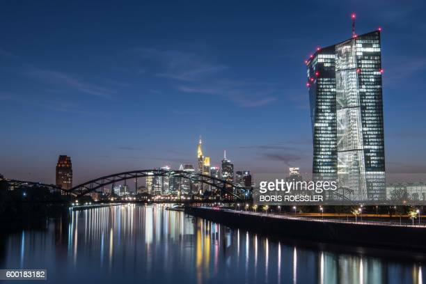 Picture taken on September 7 2016 shows the headquarters of the European Central Bank in Frankfurt am Main western Germany The European Central Bank...
