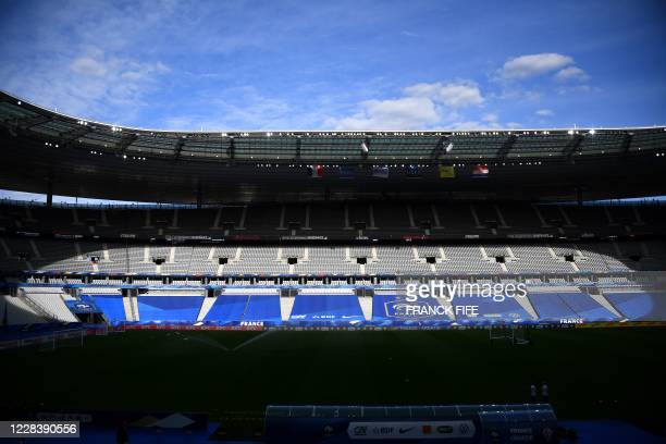 Picture taken on September 7 shows a general view of the Stade de France in Saint-Denis, outside Paris, on the eve of the UEFA Nations League Group 3...