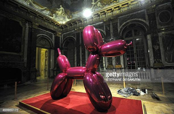 Picture taken on September 9 2008 at the Hercules salon in the Chateau de Versailles western Paris shows 'Balloon Dog' a sculpture of topselling US...