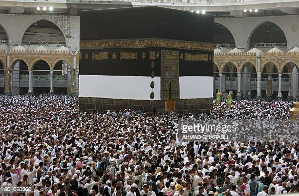 A picture taken on September 9 2016 shows a general view of Muslim pilgrims from all around the world circling around the Kaaba at the Grand Mosque...