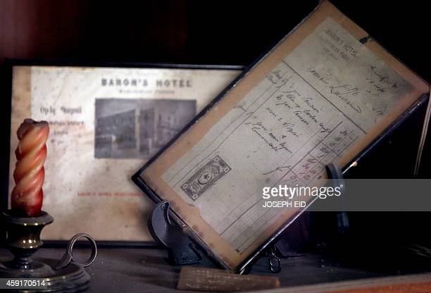 A picture taken on the government controlled side of Aleppo on November 17 shows a receipt of British Army officer Thomas Edward Lawrence displayed...