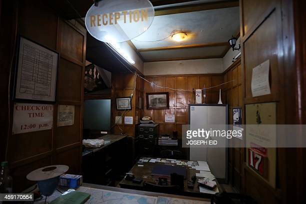 A picture taken on the government controlled side of Aleppo on November 17 shows the reception desk of the Baron Hotel the oldest hotel in the...