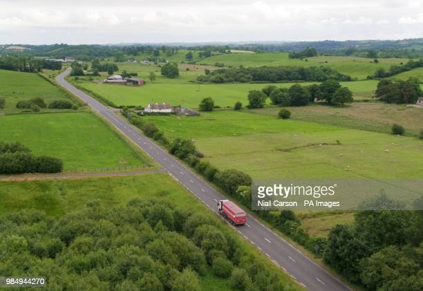 A picture taken with a drone of a Border crossing between Co Fermanagh in Northern Ireland and Co Monaghan in the Republic of Ireland near the town...
