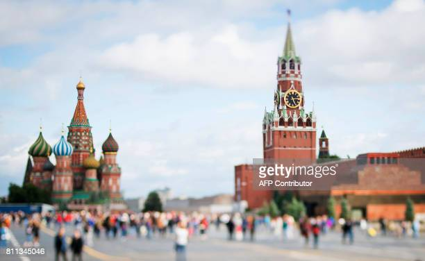 A picture taken with a tilt and shift lens shows Saint Basil's cathedral and the Kremlin in Moscow's Red Square on July 9 2017 / AFP PHOTO / Mladen...