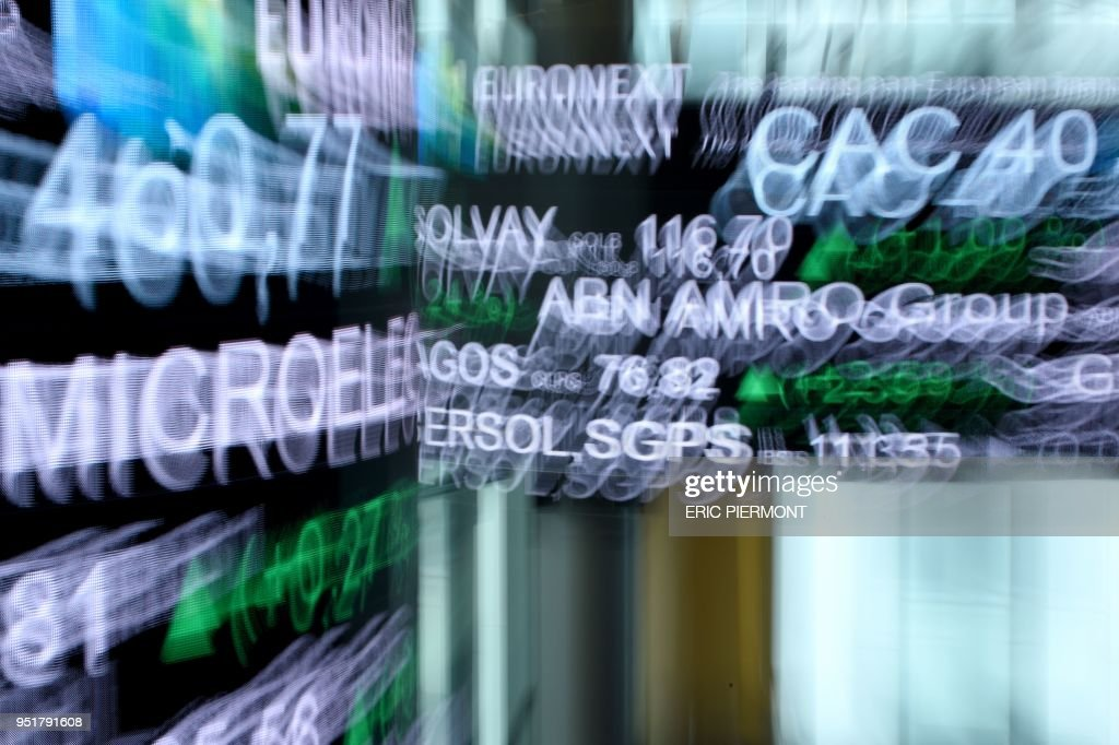 A picture taken with a zoom effect shows the CAC 40 amongst stock