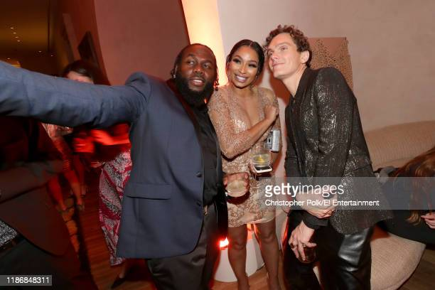 Pictured: A guest, Karlie Redd and Luke Baines during the 2019 E! People's Choice Awards After Party held at the Santa Monica Proper Hotel on...