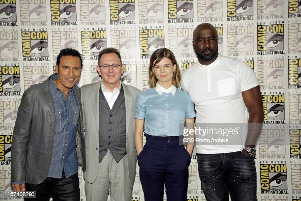 Pictured Aasif Mandvi Michael Emerson Katja Herbers and Mike Colter during the 2019 ComicCon International San Diego Panel for EVIL The series...