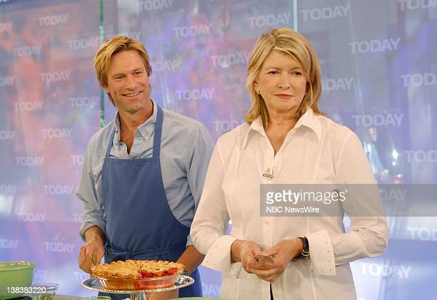 Actor Aaron Eckhart cooks in NBC News' TODAY kitchen while talking about his new movie No Reservations with Martha Stewart on July 25 2007