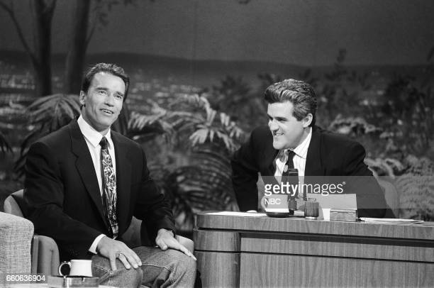 Actor Arnold Schwarzenegger during an interview with guest host Jay Leno on July 11 1991