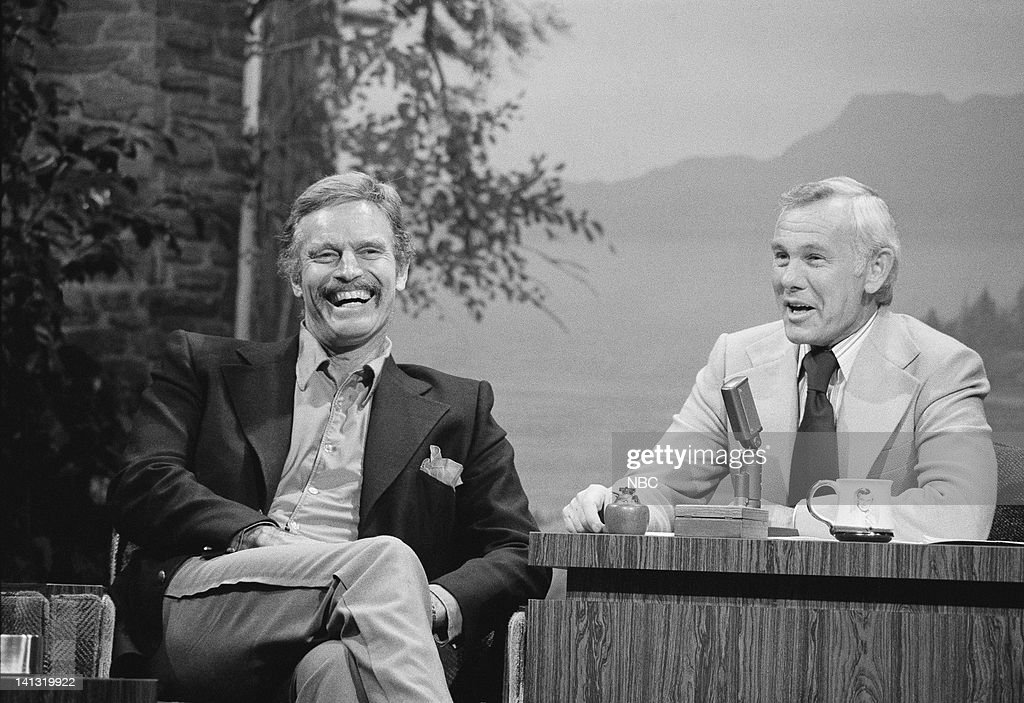 Actor Charlton Heston during an interview with host Johnny Carson on February 22, 1977 -- Photo by: Ron Tom/NBCU Photo Bank