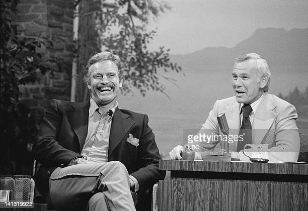 Actor Charlton Heston during an interview with host Johnny Carson on February 22 1977 Photo by Ron Tom/NBCU Photo Bank