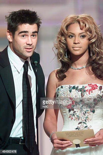 Actor Colin Farrell and singer Beyonce Knowles speak on stage at the 60th Annual Golden Globe Awards held at the Beverly Hilton Hotel on January 19...