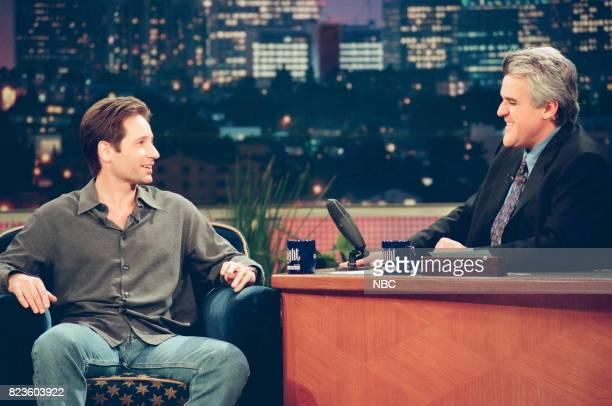 Actor David Duchovny during an interview with host Jay Leno on February 26 1999