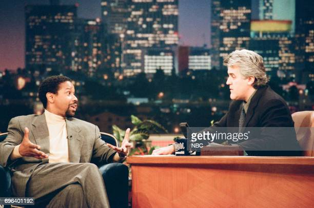 Actor Denzel Washington being interviewed by host Jay Leno on January 9 1998