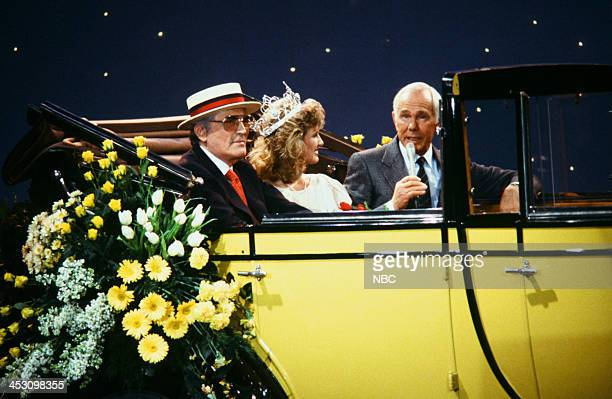 Actor Gregory Peck 1988 Rose Queen Julie Jeanne Myers host Johnny Carson