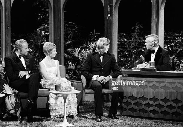 Actor Harvey Korman actress Sandy Duncan actor Christopher Mitchum during an interview with host Johnny Carson on June 7 1972