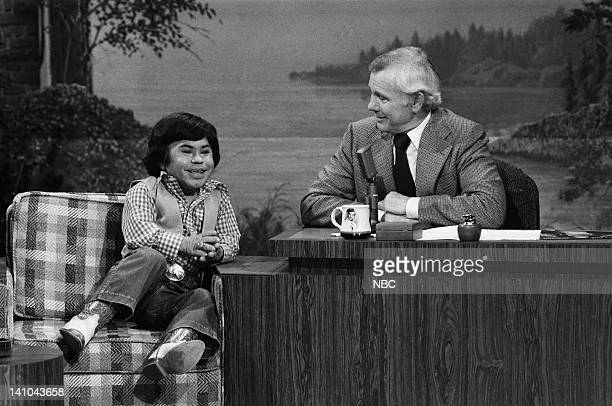 Actor Herve Villechaize host Johnny Carson on February 8 1979 Photo by Gene Arias/NBC/NBCU Photo Bank