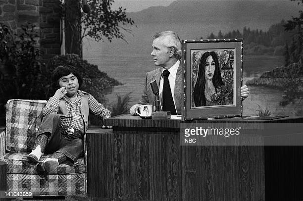Pictured: Actor Herve Villechaize, host Johnny Carson on February 8, 1979 -- Photo by: Gene Arias/NBC/NBCU Photo Bank