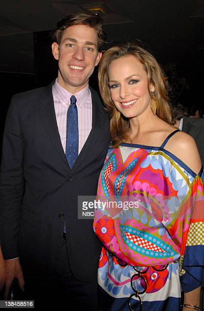 Actor John Krasinski and actress Melora Hardin of The Office mingle in the green room at the 2007 NBC Upfront event on May 14 2007