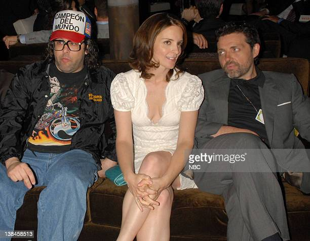 Actor Judah Friedlander actress Tina Fey and composer Jeff Richmond mingle in the green room at the 2007 NBC Upfront event on May 14 2007