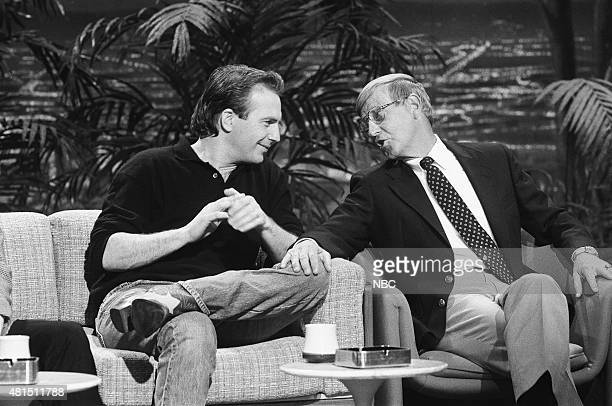 Actor Kevin Costner and former professional football player Lou Holtz during an interview on January 3 1991
