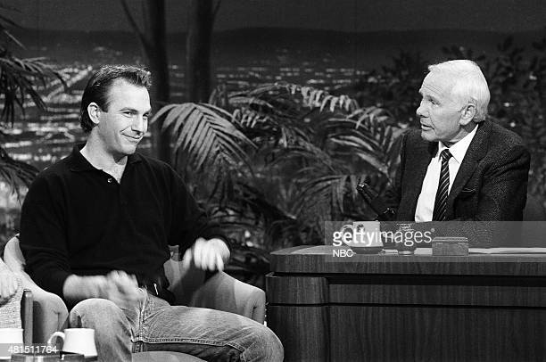 Actor Kevin Costner during an interview with host Johnny Carson on January 3 1991