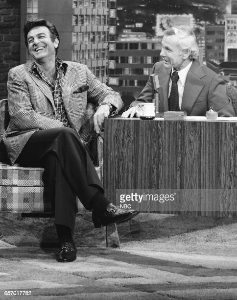 Actor Mike Connors during an interview with Host Johnny Carson on April 2nd 1976