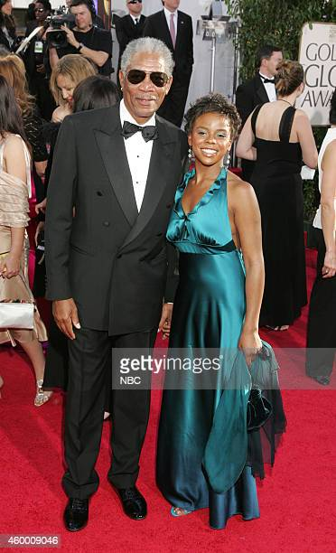 Actor Morgan Freeman and daughter Deena Freeman arrive at the 62nd Annual Golden Globe Awards held at the Beverly Hilton Hotel on January 16 2005