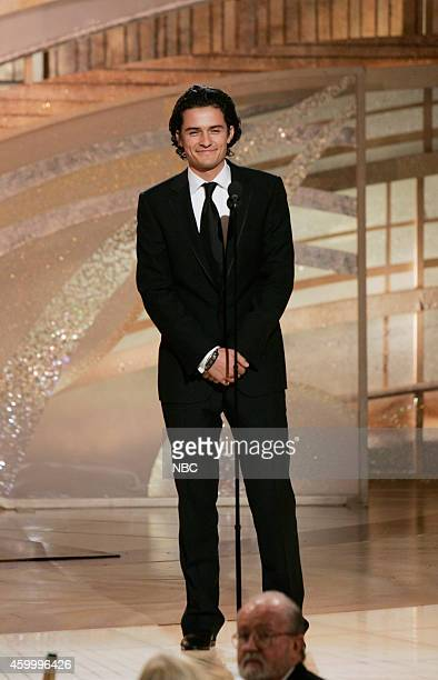 Actor Orlando Bloom speaks on stage at the 62nd Annual Golden Globe Awards held at the Beverly Hilton Hotel on January 16 2005