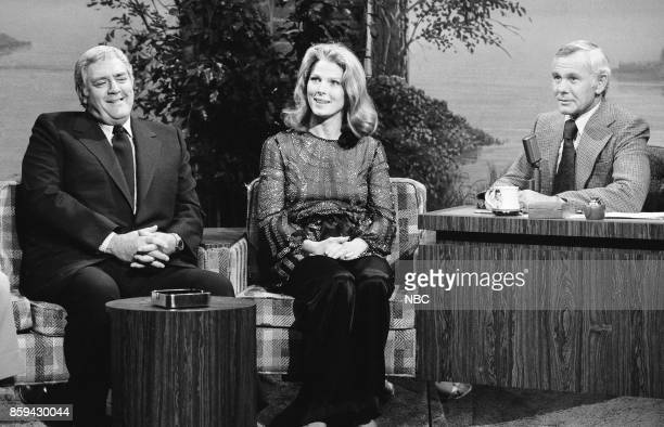 Actor Raymond Burr and actress Mariette Hartley during an interview with host Johnny Carson on March 22 1977